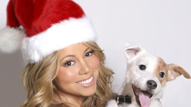 Mariah Carey and her dog Jack are prepping for a Christmas movie.