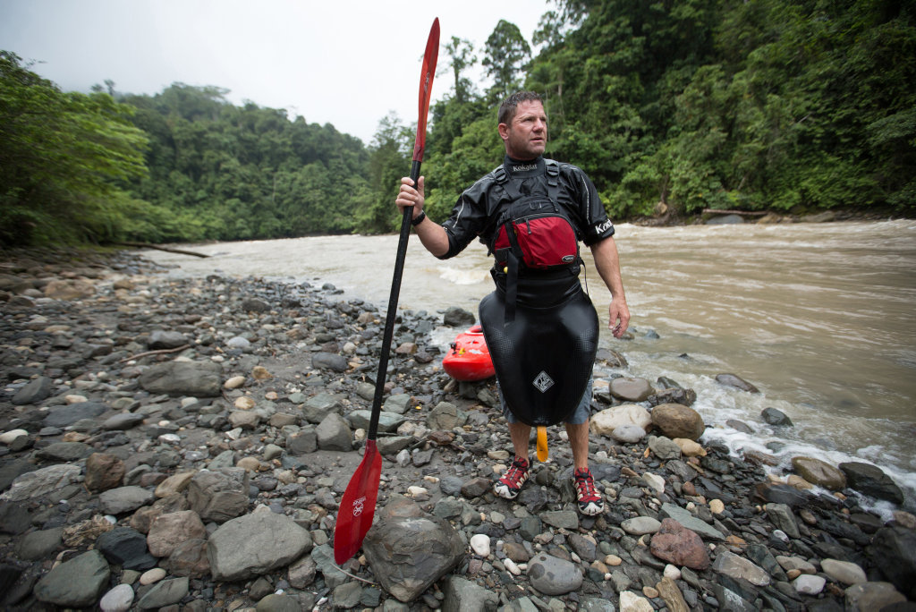 Steve Backshall pictured along the Baliem River in a scene from Extreme River Challenge.
