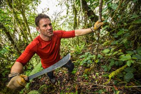 Steve Backshall cutting his way through the jungle during an expedition along the Baliem River in West Papua.