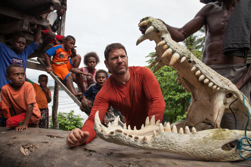 The Asmat Tribe of West Papua shows Steve Backshall a crocodile they killed after it ate 17 members of their tribe.