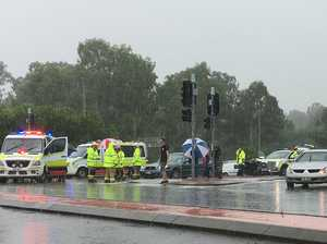 Seven hospitalised in wet weather prang