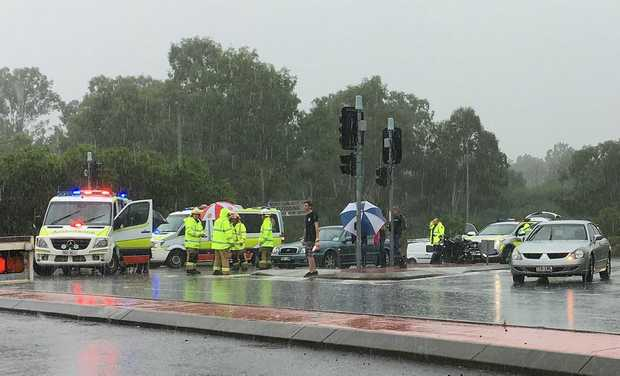 Emergency crews attend a crash on Old Toowoomba Road at One Mile.