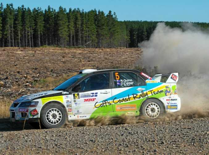 FAST PACE: Nathan Quinn driving the Coffs Coast Rally Team Mitsubishi Lancer Evo IX during the Eureka Rally in Ballarat.