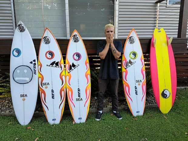 HE'S BACK: Broken Head surfer and Byron Boardriders member Zac Skyring has been enjoying his dream job.