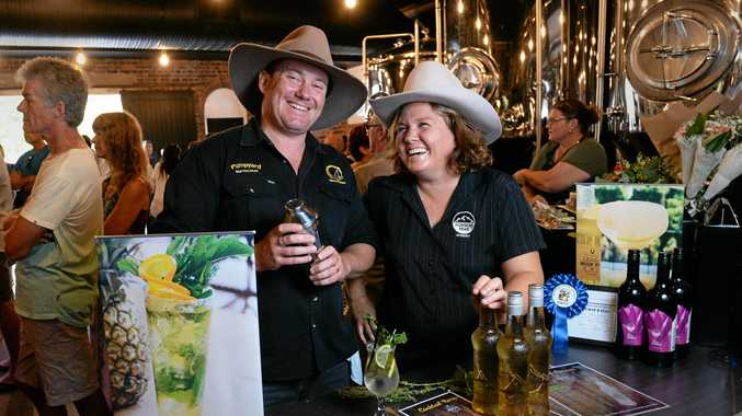 TOP DROP: Wade Curtis from Pumpyard Bar and Brewery makes a cocktail with Missin' Ippy Moonshine with Flinders Peak Winery manager Aretha Acton.