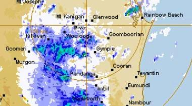 Heavy rain moving across the Gympie region on Wednesday morning