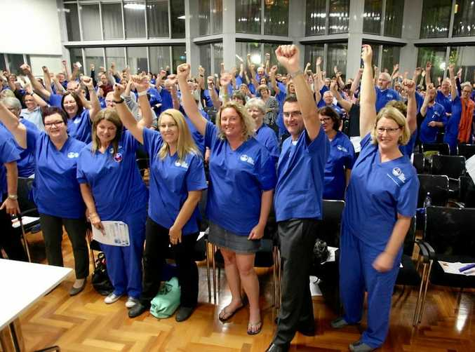 IN FAVOUR: Nurses vote, led by NSWNMA general manager Brett Holmes, to boost nurse to patient ratio across NSW public hospitals.