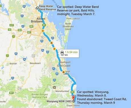 A map tracing Qld sightings and the discovery of missing man Samuel Thompson's Holden Mustang at Wooyung, Northern NSW.