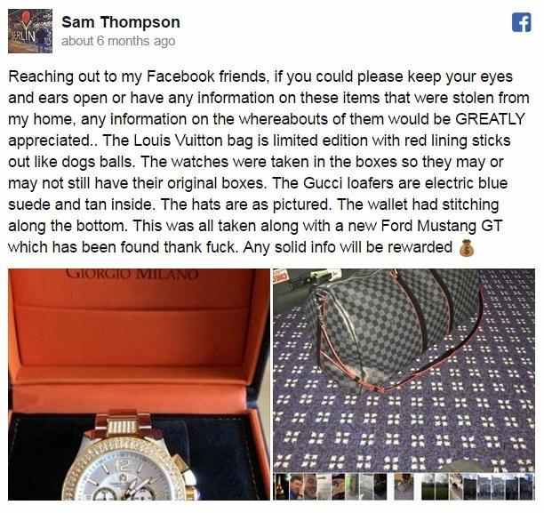 Samuel Thompson was robbed of luxury items last September.