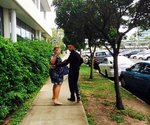 Ivan Bortic, right, leaving the Maroochydore Magistrate's Court with a woman.