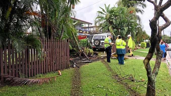 A 4WD has crashed through the fence of a Gladstone home in Sun Valley.