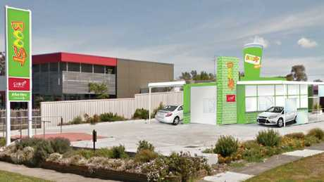 A mock-up of Boost Juice's new drive-through