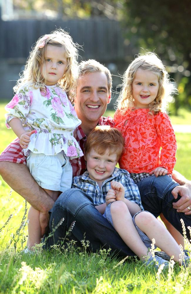 Dr Andrew Rochford and his three children Archie and twins Ava and Georgie.