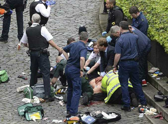 A suspected terrorist attack has left four people dead, including a police officer, and at least 20 people injured.