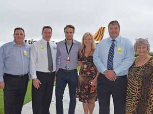 ALL ABORD: CEO of Tourism Whitsundays Craig Turner, Cr Ron Petterson, Joel Dwyer and Vanessa Regan of Tigerair, Whitsunday Mayor Andrew Willcox and Cr Jan Clifford at the Whitsunday Coast airport yesterday morning.