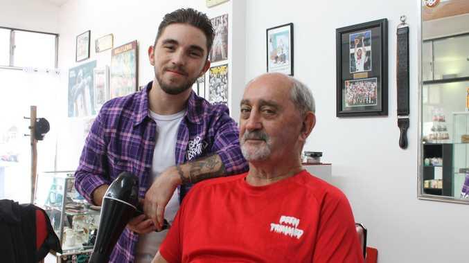FAMILY LEGACY: Son Kaleb is no part-owner of his father John Sheeran's barber shop, John's Chop Spot.