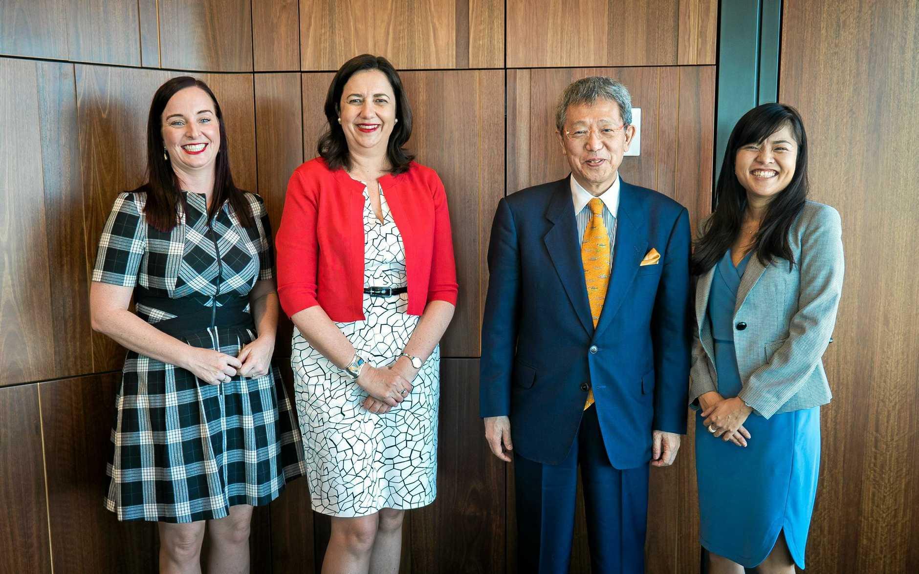 Member for Keppel Brittany Lauga and Premier Annastacia Palaszczuk met with Iwasaki Sangyo President Mr Yoshitaro Iwasaki and International Sales and Marketing Manager Ms Takaho Iwasaki in Brisbane today.