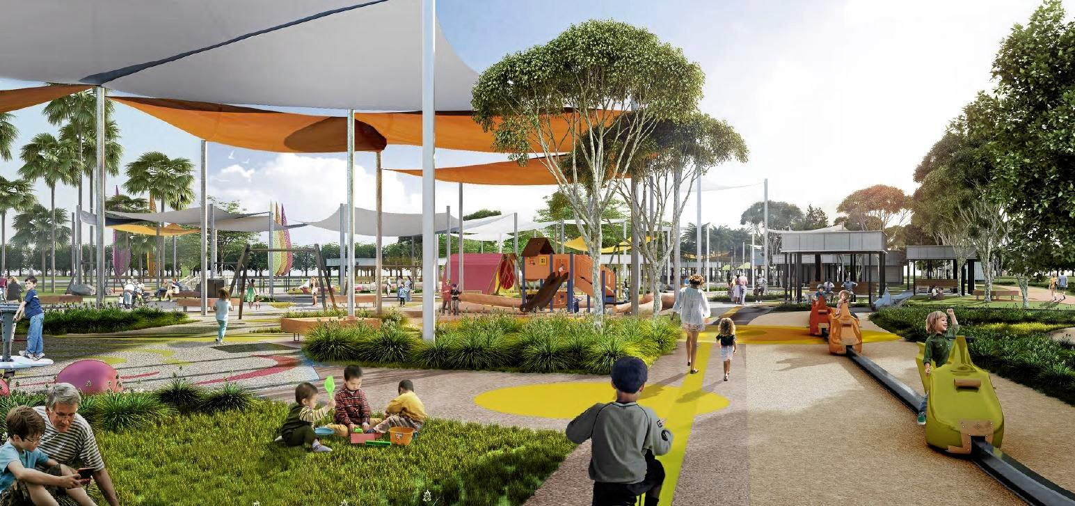 Artist's impressions of the central precinct of the redeveloped Kershaw Gardens. (low-res)