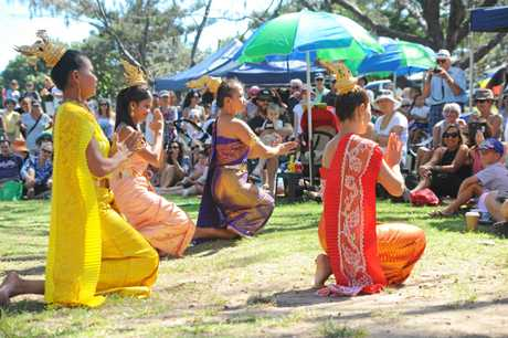 Thai dancers at the Harbourside markets with Thai New Year celebrations.  Photo: Leigh Jensen / Coffs Coast Advocate