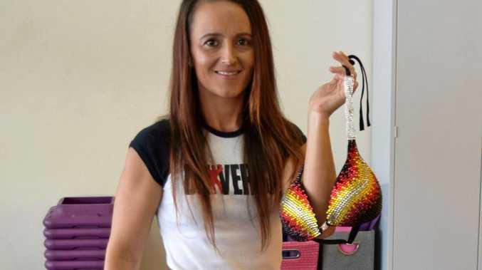 Leah and her Aboriginal inspired fitness bikini.