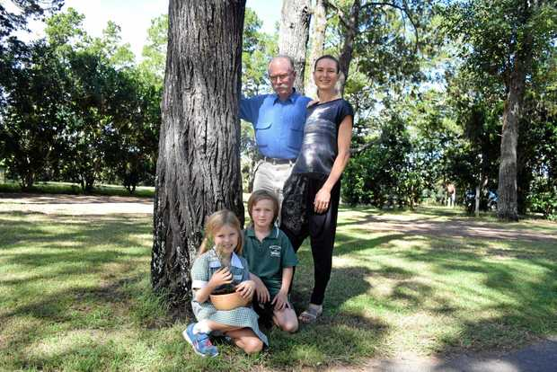 REMEMBERANCE PINES: As part of Anzac Day commemorations D'Arcy O'Meara shared the story of the Memorial Pines in North Terrace Park with students from Brunswick Heads Public School. He is seen here with his daughter Kelly Dodd and grandchildren Stella and Spike Dodd.