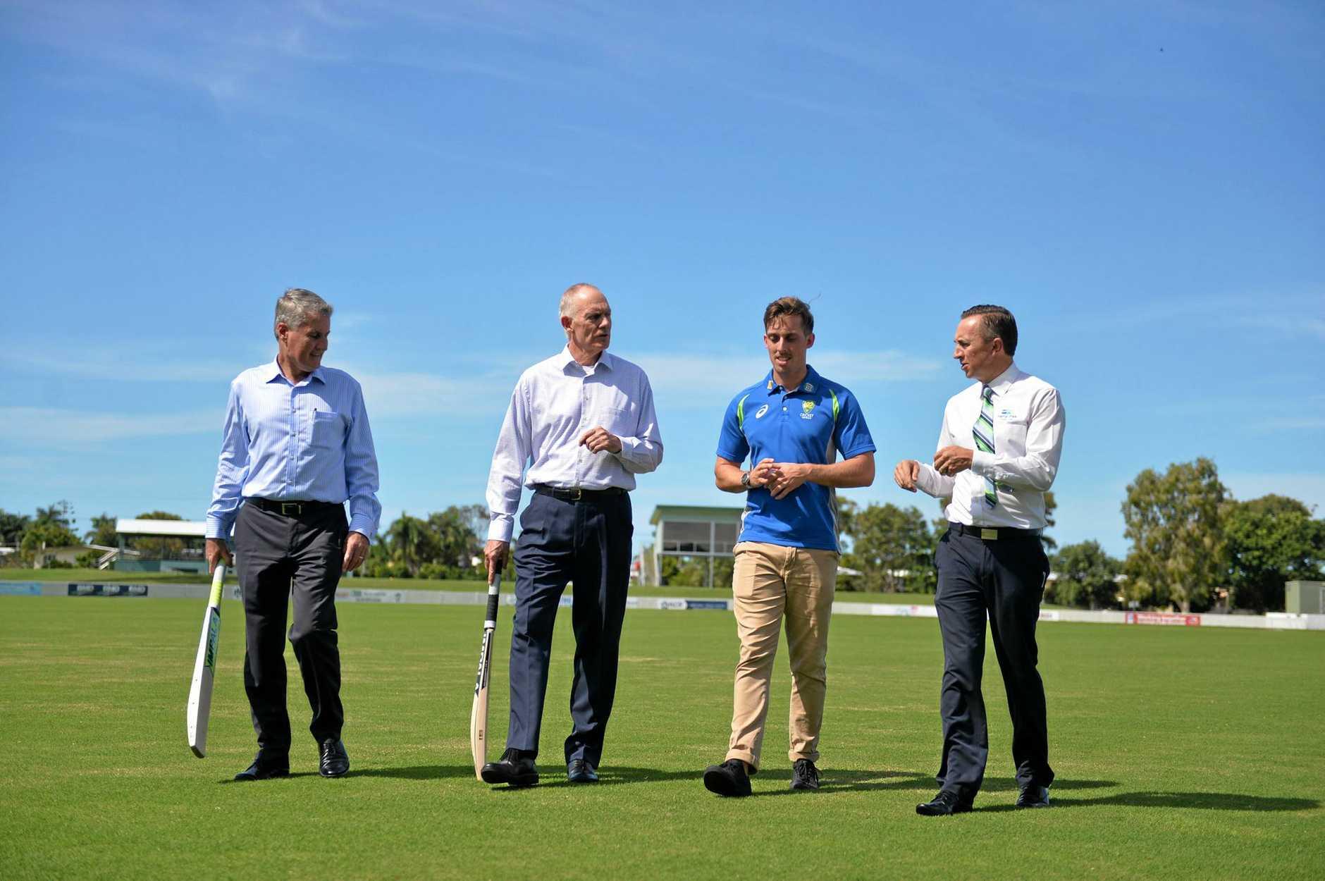 Mackay Mayor Greg Williamson, cricket legend Greg Chappell, Australia A bowler Jake Lehman and Harrup Park Country Club general manager Michael Jones announcing that Harrup Park would host the Quadrangluar A Series last year.