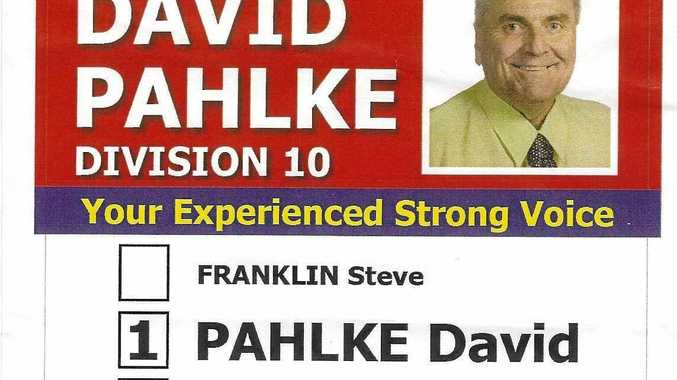 DAVID AND PAUL: Cr David Pahlke's how-to-vote card from the 2016 Ipswich local government elections.