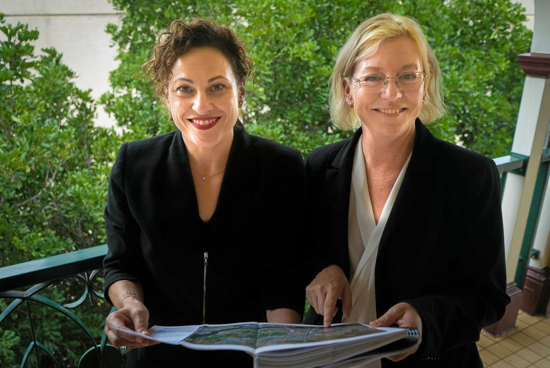 SHORTLIST: Deputy Premier Jackie Trad and Member for Bundaberg Leanne Donaldson with the technical reports for the Bundaberg Flood Protection Study.
