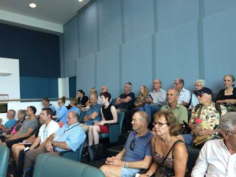 INTEREST: The crowd watches on with interest as the Shelly Beach vegetation management program is debated.