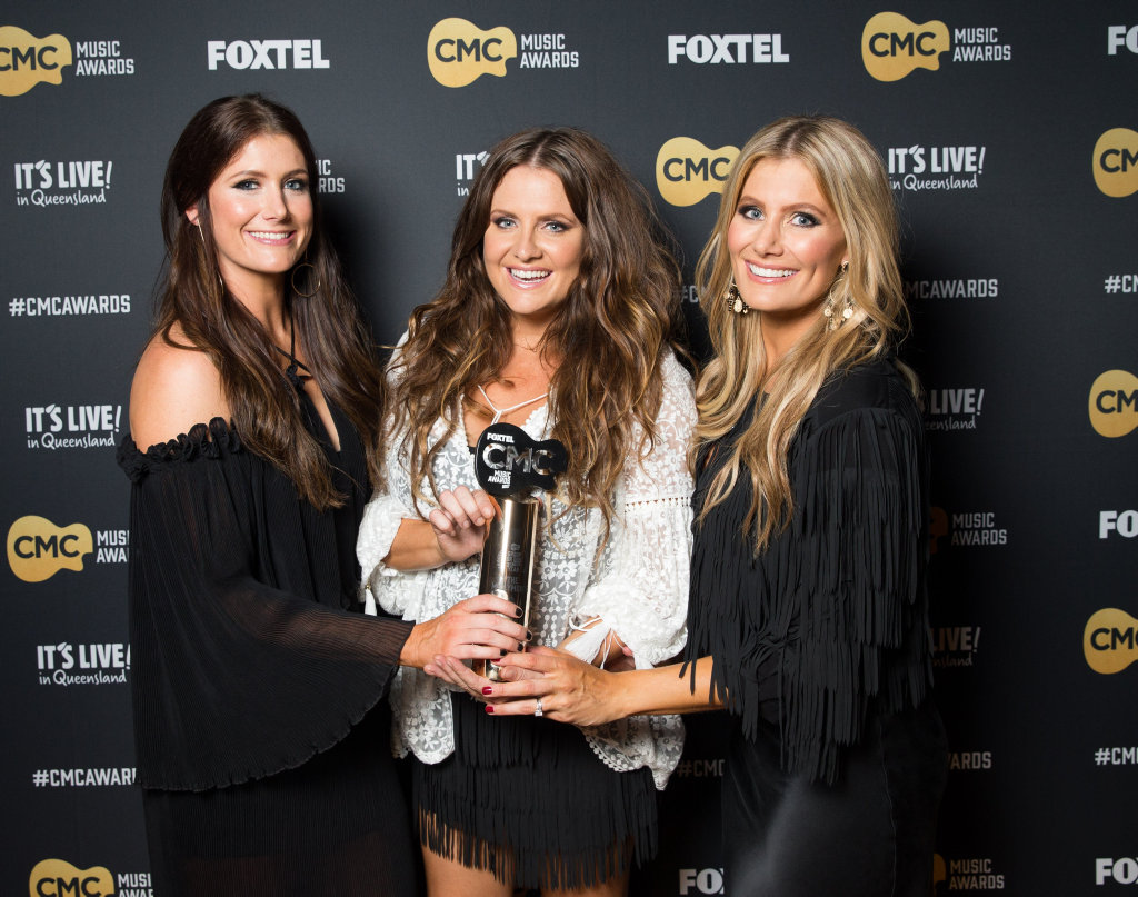 The McClymonts win the CMC Music Award for Best Group or Duo. Supplied by Foxtel.