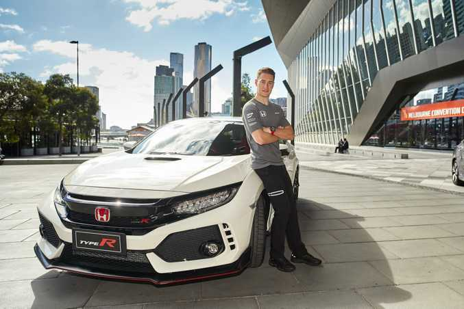 LUCKED IN: McLaren-Honda F1 driver Stoffel Vandoorne the first person on Australian soil to drive the all-new Honda Civic Type R.