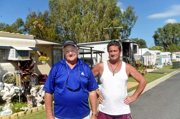 PARK WOES: Toorbul Caravan Park residents Merv Pocock and Mark Ashley won't give up without a fight.