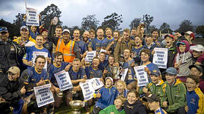 The Dalby Wheatmen celebrate their Risdon Cup grand final win last September at Gold Park. Who will get to lift the trophy this season?