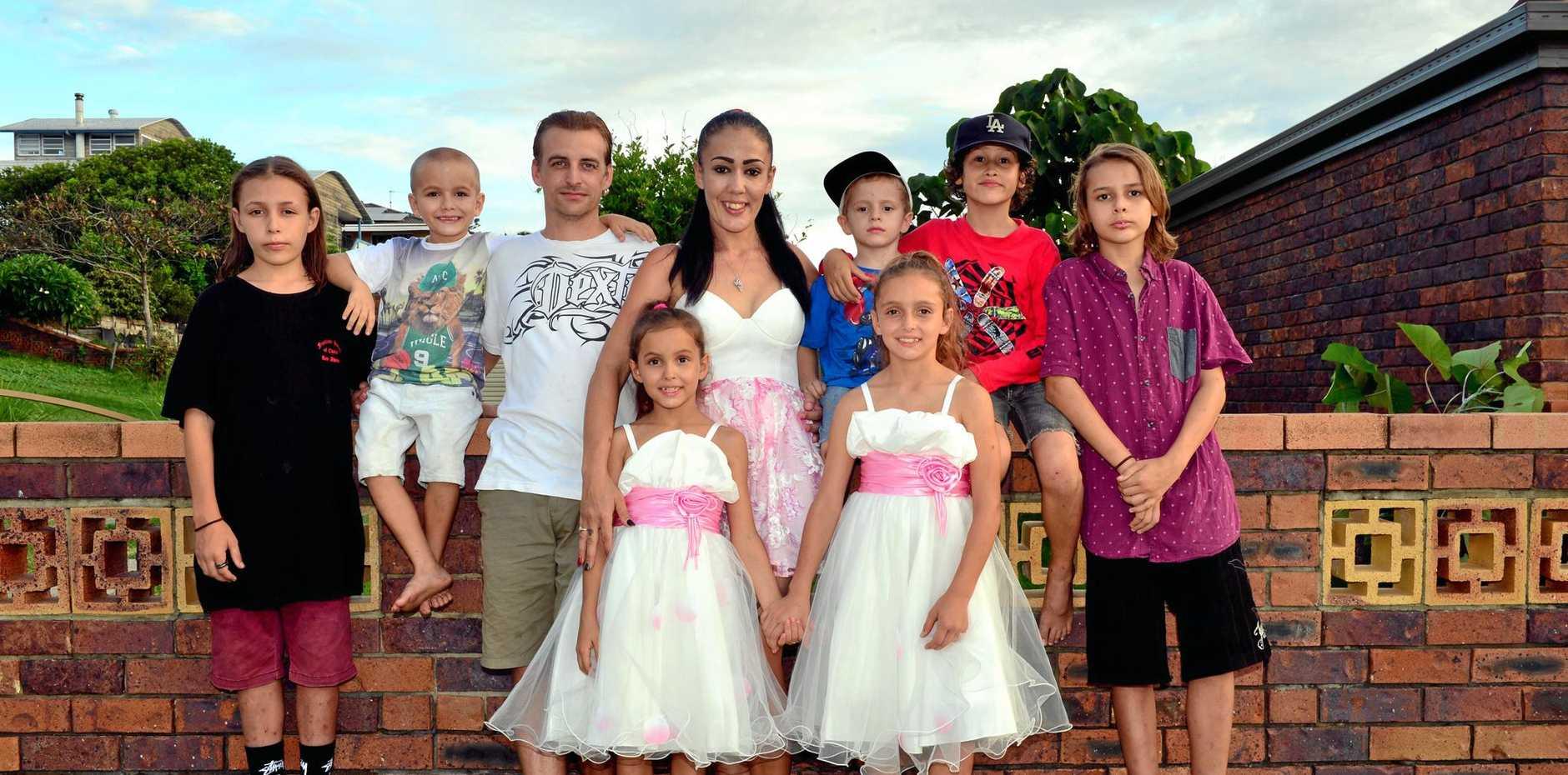 CLAN: Delveen and Scott Poland with their children, Rylee, 14, Logan, 13, Phoenix, 11, Karisma, 9, Briahne, 7, Corbin, 5 and Dominique,4.