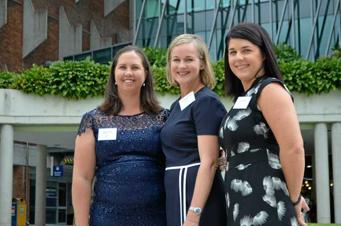 Queensland Rural Women's Award finalist Jessica Fealy, winner Jacqui Wilson-Smith and finalist Tracey Beikoff outside of Old Government House in Brisbane.