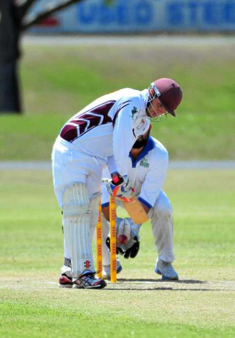 HOWZAT: Jake Healy lets one slip through for Norths in the Division One Twenty Twenty Cricket at Kendalls Flat. Photo: Paul Donaldson / NewsMail