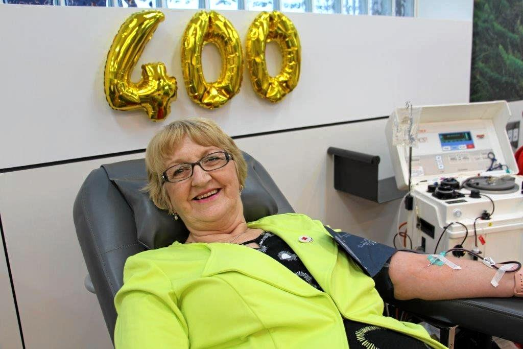 BIG DONATION: Sue Maurer is the first woman in Toowoomba to reach 400 blood donations, saving 1200 lives.