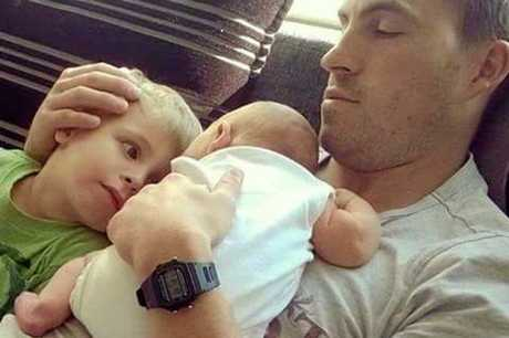 Nathaniel Beesley died on March 17 while working in a Tasmanian mine. He is pictured here with sons Freddie, 4, and Rex, 21 months.