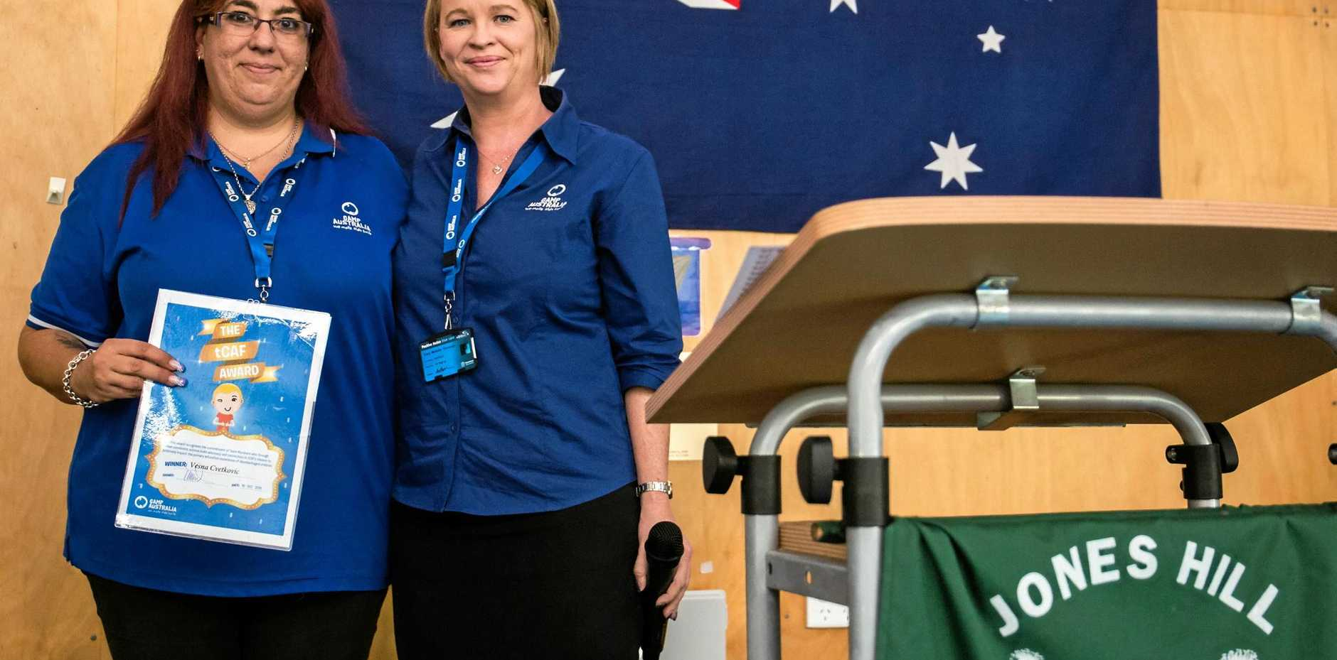 LEADING BY EXAMPLE: Child care worker Vesna Cvetkovic and Camp Australia regional manager Tracy Thompson at Jones Hill Primary School.