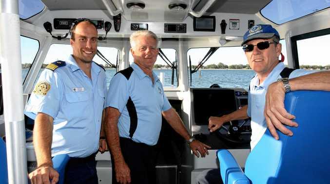 THE GANG: Nathan Gundry (L), Bob Skinner and Allan Tranter at the controls of the new vessel. Peter McNamara