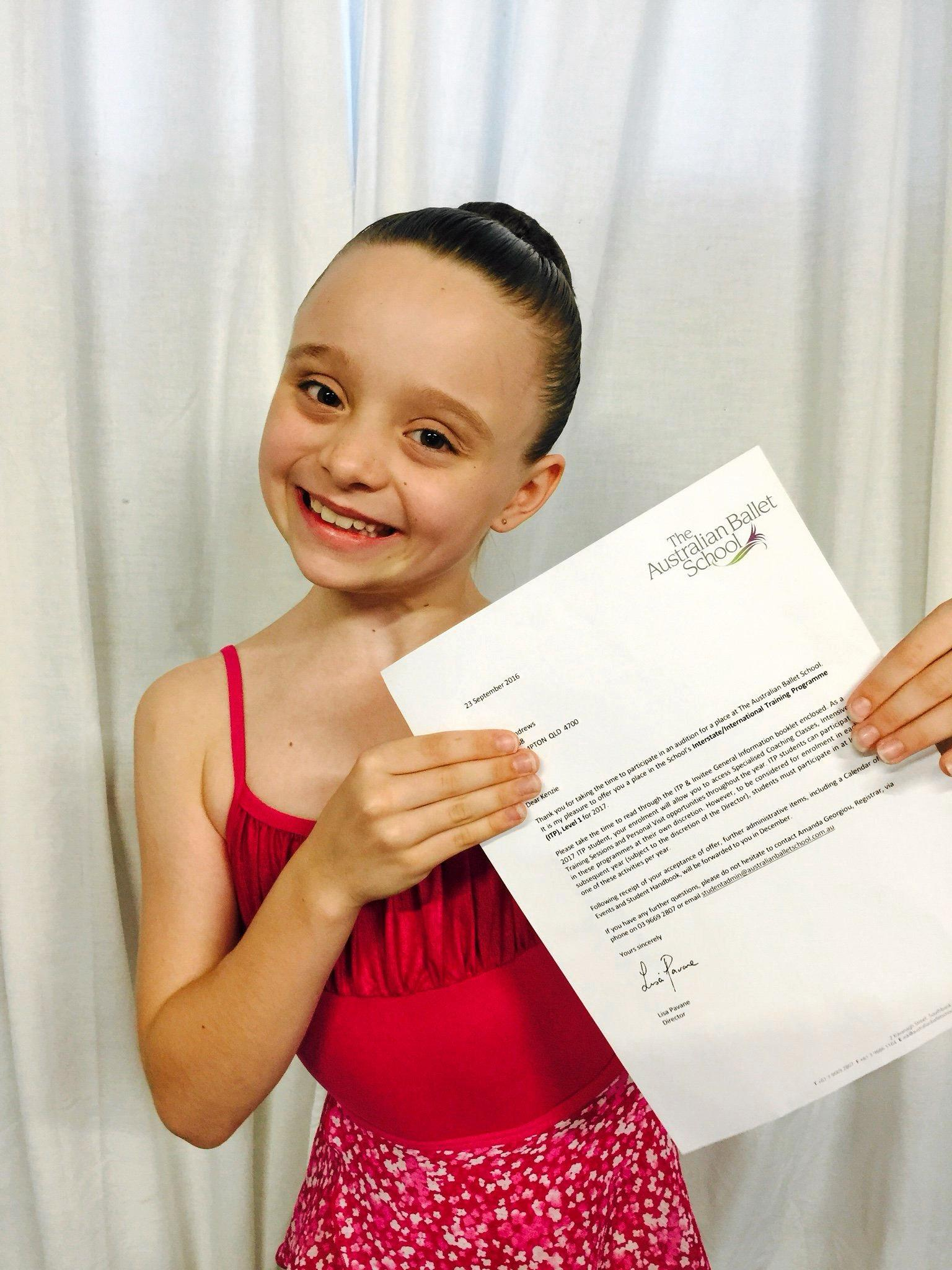 Kenzie Andrews received a place in the Australian Ballet School's Interstate/International Training Program (ITP).