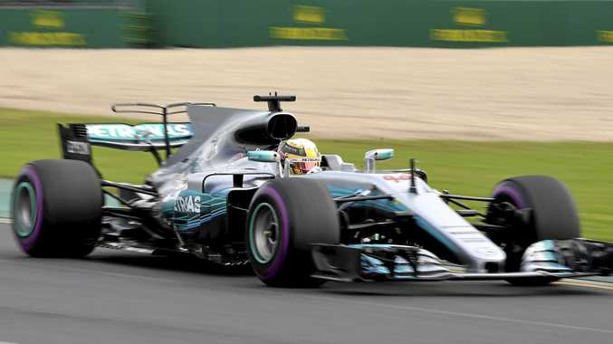 Mercedes driver Lewis Hamilton of Britain steers his car during the second practice session for the Australian Grand Prix in Melbourne.