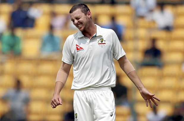 Australia's Josh Hazlewood during the third day of the second Test in Bangalore.