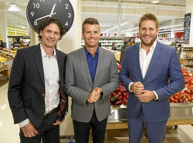 My Kitchen Rules judges Colin Fassnidge and Pete Evans with guest judge Curtis Stone, right.