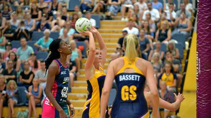 NETBALL: Sunshine Coast Lighting v Melbourne Vixens at Caloundra Indoor Stadium. Lighting's GA player Stephanie Wood takes aim.