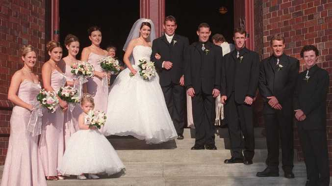 Brett and Sharnie Kimmorley on their wedding day in 2000.