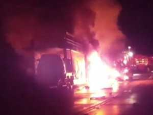 Truck drivers killed in fiery crash, blocks Sydney road