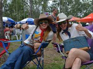 Traveling performers the Crack Up Sisters mingled with the crows at the CMC Rocks Queensland.