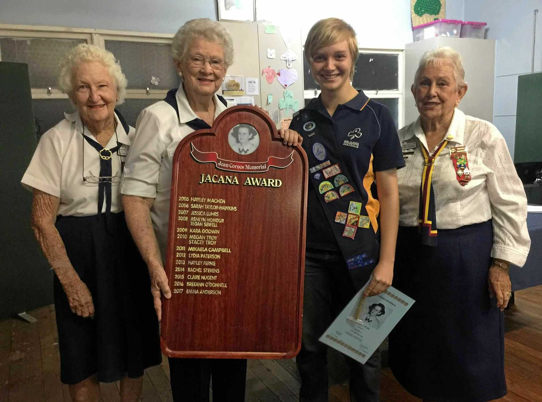 BIG HONOUR: Jacana Award winner Emma Anderson (second left) with Gympie Trefoil members (from left) Yvonne Nipperess, Betty Collins and Viv Parker.