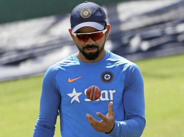 Indian captain Virat Kohli during a practice session ahead of the fourth Test against Australia in Dharmsala.